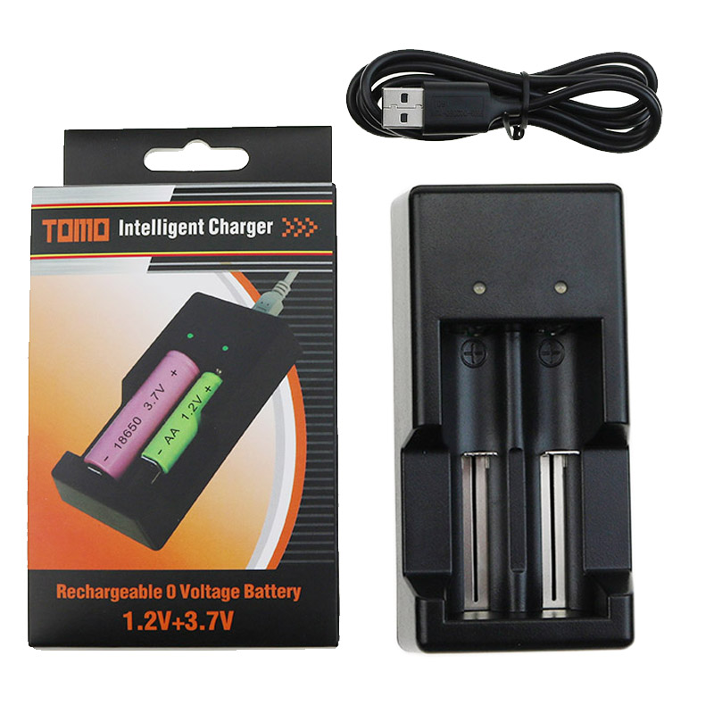 TOMO Rechargeable Intelligent Battery Charger For 3.7V/18650 18500 17650 16340 14500 10500 1.2V/AA AAA Battery Charger 2 Slots(China (Mainland))