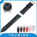 22mm Genuine Leather Watch Band Tool for Samsung Gear S3 Classic Frontier Stainless Steel Buckle Strap