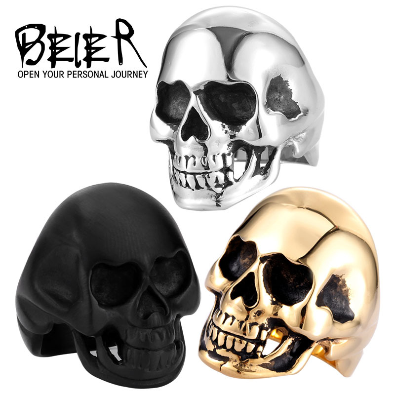 Drop Ship 316L Stanless Steel Fashion Jewelry Men's Punk Smooth Middle Knuckle Paver Black/Gold Skull Rings Man BR8-022(China (Mainland))