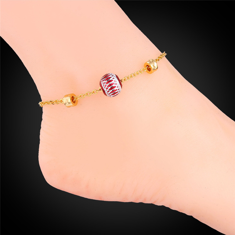 Foot Jewelry Gold Anklet For Women Lovers Gift 2015 18K Real Gold/Platinum Plated Cute Ball bracelets On a Leg For Women IA928(China (Mainland))