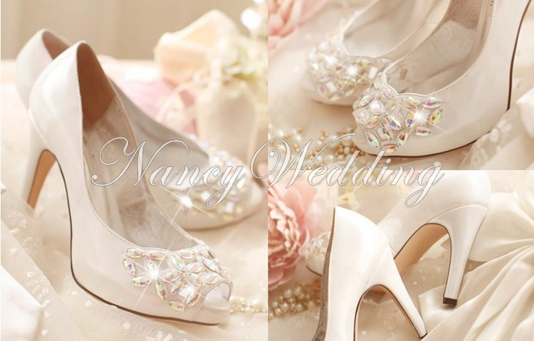 Crystal Peep Toe High Heels Rhinestone Bridal Shoes Luxurious Silver 4 Inches Wedding Ceremony Prom Shoes Birthday Gift