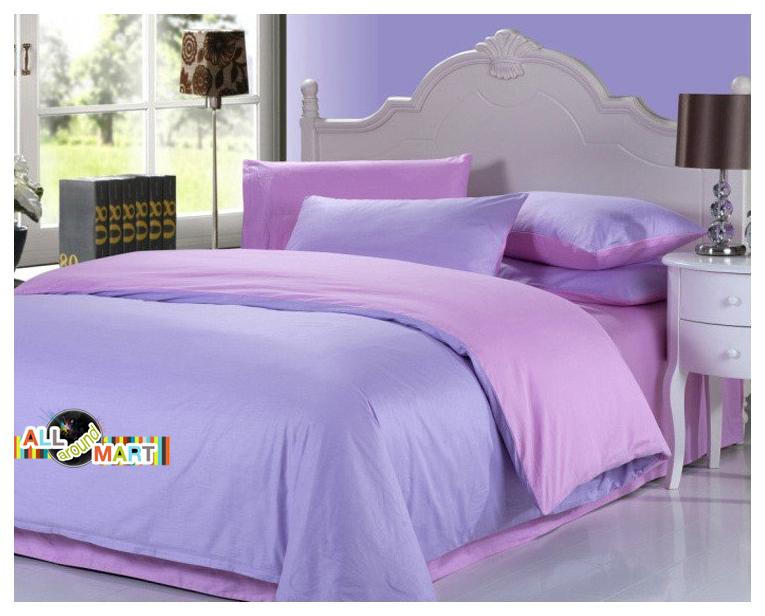 Free shipping 4pcs cotton contrast color bedding set pink - Purple and pink comforter sets ...