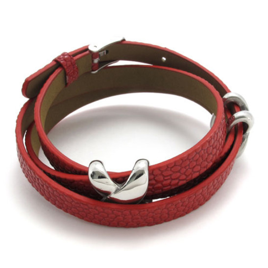 Womens Stainless Steel Cross Charm and Red Rubber Bracelet fits 7-8 inches Drop Shipping(China (Mainland))
