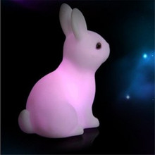 Novelty Rabbit Lights Led Night Lamp Kids Light Favor Gift Toy Baby Sleep Lighting RGB Colorful Art Decor Led Lighting 1PCS