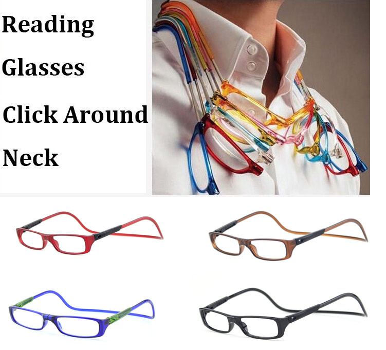4-Pairs Mix Fashion New Magnetic Reading Glasses Click Hang Around Never Loose again +1.0 1.5 2.0 2.5 3.0 3.5