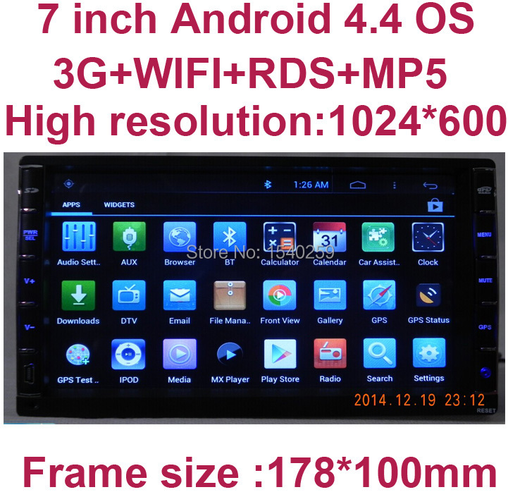 HD 1024*600 Double 2 DIN 7 INCH Android 4.4 CAR DVD For UNIVERSAL / Interchangeable X-TRAIL Qashqai xtrail Livina(China (Mainland))