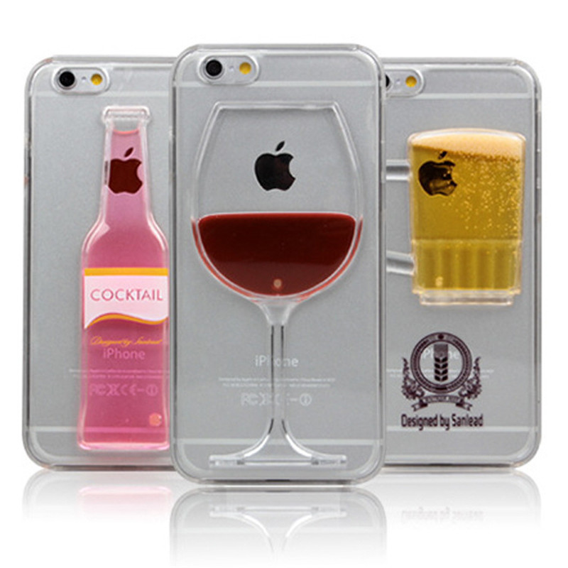 High Sales! Luxury Red Wine Cup and Beer Bottle Liquid Transparent Case Cover For Apple iPhone 6 Case(China (Mainland))