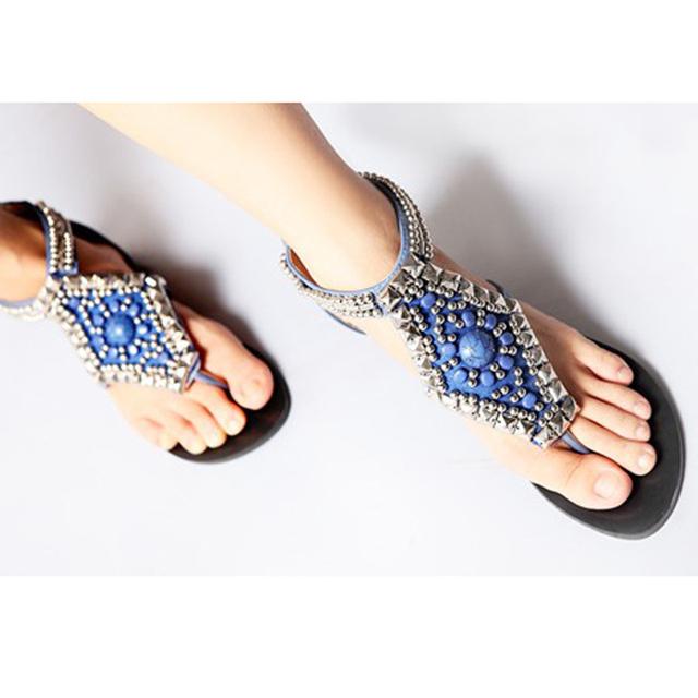 Женщины богема лежа сандалии леди цвет камень вышивка бисером триггера свободного ...