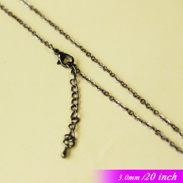 """Здесь можно купить  For Fashion Necklace Chains Pendants With Lobster Clasps Extender End Drops 3MM Flat Cable Jewelry Links 20"""" Gunmetal Black Tone For Fashion Necklace Chains Pendants With Lobster Clasps Extender End Drops 3MM Flat Cable Jewelry Links 20"""" Gunmetal Black Tone Ювелирные изделия и часы"""