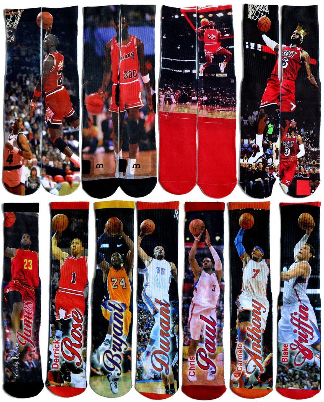 LEBRONS/KOB/DRANT/ANTHONY/ROSE/GREFFIN Basketball Star 3D Printed odd sport Socks Summer style Skate men's brand happy socks 244(China (Mainland))