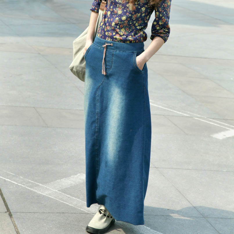 2016 Spring Autumn Cotton Denim Long Skirt Solid Blue Vintage Maxi A Line Jeans Skirt for Women Одежда и ак�е��уары<br><br><br>Aliexpress