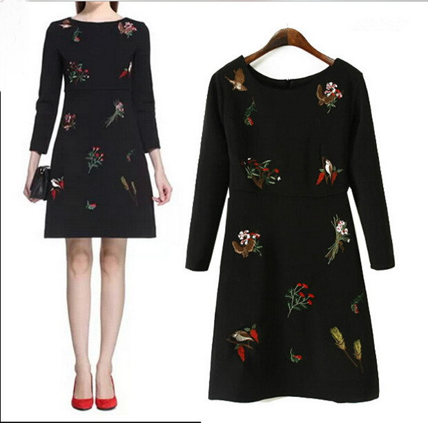 Free shipping 2015 New Winter Fashion Style Embroidered Was Thin Slim Dress 2120(China (Mainland))