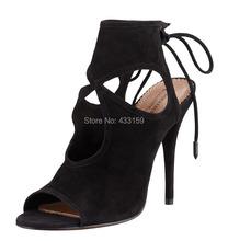 2015 New red/green/beige/black suede gladiator high heels women sandals