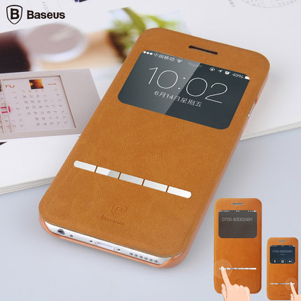 Plus 5.5inch Smart Metal Stripe Slide Answering Case Luxury Baseus Stand Flip PU Leather Cover For iphone 6 4.7 Book Phone Bags(China (Mainland))
