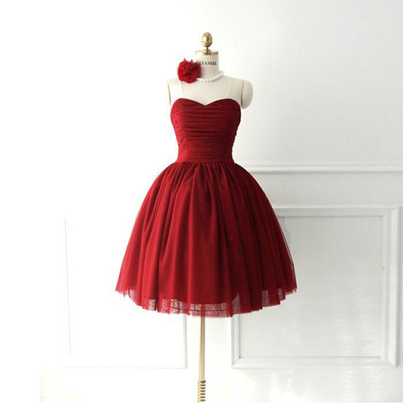 2016 cheap ball gown tulle wine red burgundy short prom for Formal short dresses for weddings