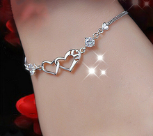 Free Shipping Trendy Heart Jewelry Rhinestone Bracelet & Bangles Silver Plated Jewelry Accessories For Women pulceras mujer(China (Mainland))