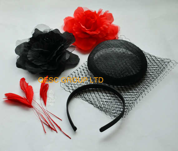 Hot pink sinamay base veiling silk flower satin headband feathers for fascinator .(China (Mainland))