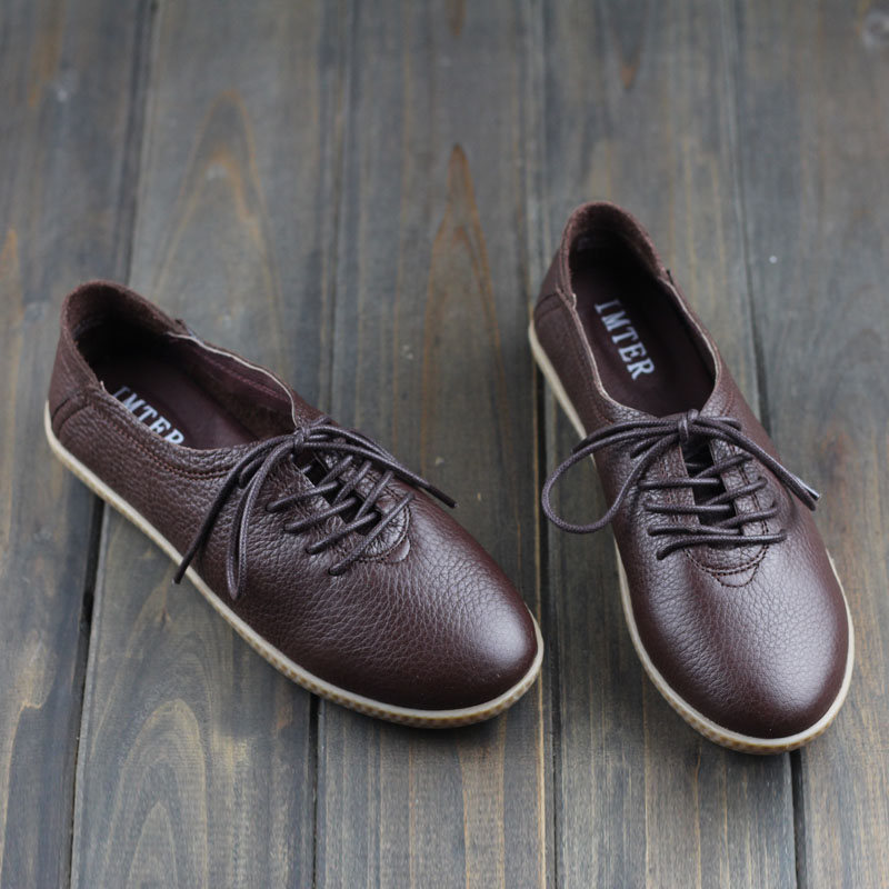 Women Shoes 100% Genuine Leather  Lace up Ladies Flat Shoes Woman Spring/Autumn Slip on Loafers Brand Designer Footwear(2816-2)<br><br>Aliexpress