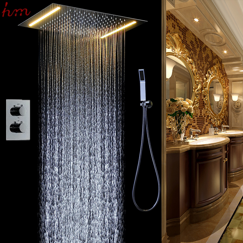 New bath accessories 360*500mm led stainless steel shower head thermostatic shower set wall mounted mixer rain shower fall(China (Mainland))
