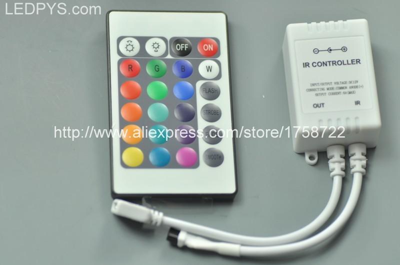 24 Keys LED RGB Controller with IR Remote For RGB 5050/3528 Strip Light Control(China (Mainland))