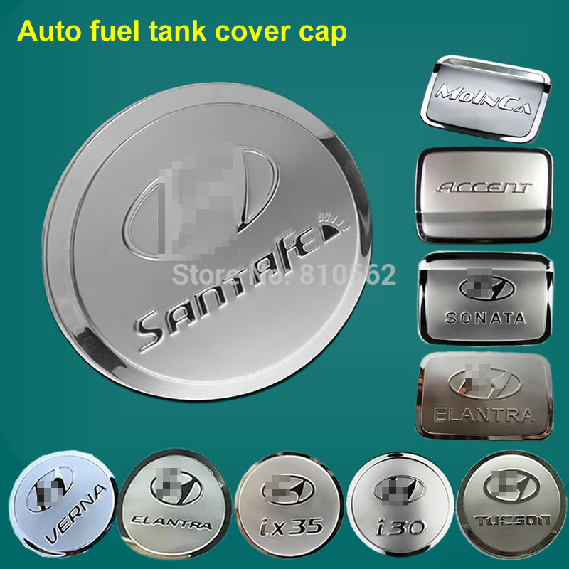 Stainless steel fuel tank cover sticker Fit for TUCSON ix35 VERNA ACCENT i30 Elantra Santa Fe ix45 Sonata Auto oil tank cap(China (Mainland))