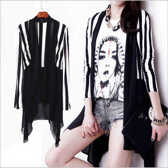Womens Black Trench Coat Summer Style Striped Long Fashion Chiffon Maxi Sleeve Coats Modal Sun Protection Clothing SP232 - Zhonghuan Women No.5 Store store