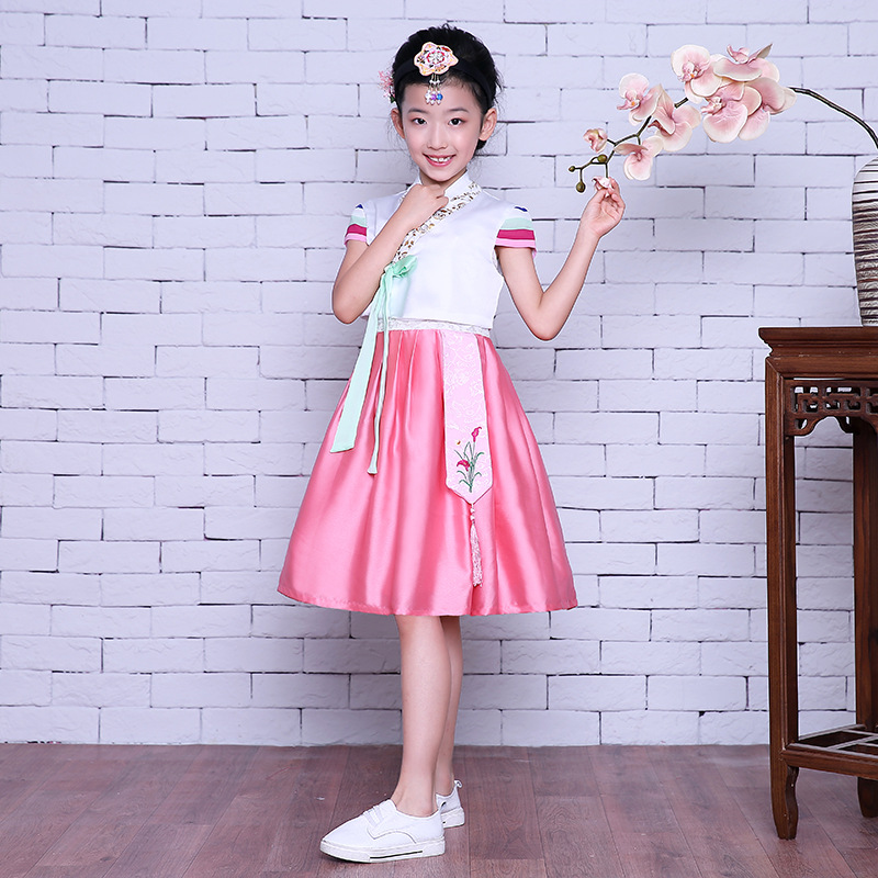 Short Sleeve Girl Pink Korean Hanbok Dress Kid Asian Korea Traditional Costume Ancient Clothing Child Stage Dance Clothes 89