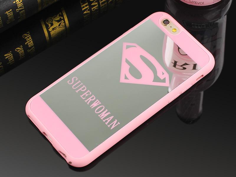 Newest Superman Superwoman Mirror Surface TPU Case For iPhone 7 7 Plus 6s 6 Plus 5 5s SE Chrome Back Cover Cases Coque Fundas