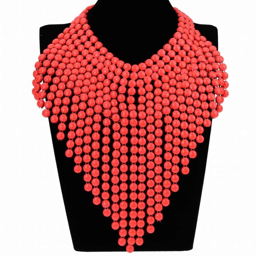 2015 Fashion 7 Colors Hot Selling Multi Layer Chain Spray Paint Beads Tassel Statement Pendant Necklace Party Women Men Jewelry - MOONEY PY STORE store