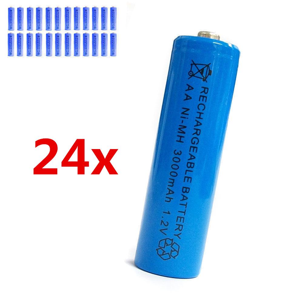 24 pcs AA 2A 3000mAh 1.2V Ni-MH rechargeable battery Solar Light MP3 Toy Blue(China (Mainland))