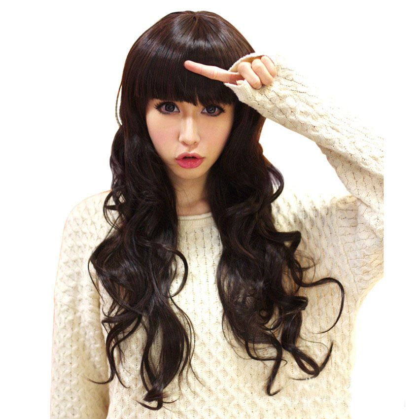 Fashion Synthetic Hair Wigs Long curly Big Wave Dark Brown Color wigs for black women edt spray harajuku wig Free Shipping VH008(China (Mainland))