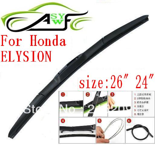 Free shipping auto car windshield wiper blade For Honda ELYSION Hook type wiper arm Soft Rubber WindShield Wiper 2pcs/PAIR(China (Mainland))