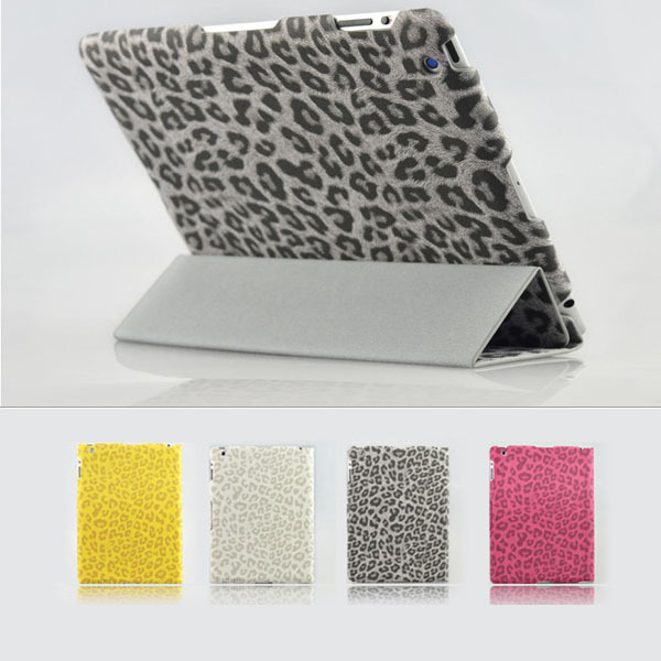 New Arrival Thin PU Leather Case for iPad Mini Leopard Pattern Smart Cover with Stand Magnetic for iPad Mini(China (Mainland))