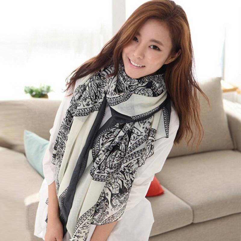 2015 Vintage Women Long Soft Cotton Voile Print Scarves Shawl Wrap Scarf Large # 72872(China (Mainland))