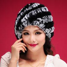 New Women Warm Knit Rabbit Fur Hat Cap headgear headdress Various Fashion Women Hats Free Shipping(China (Mainland))