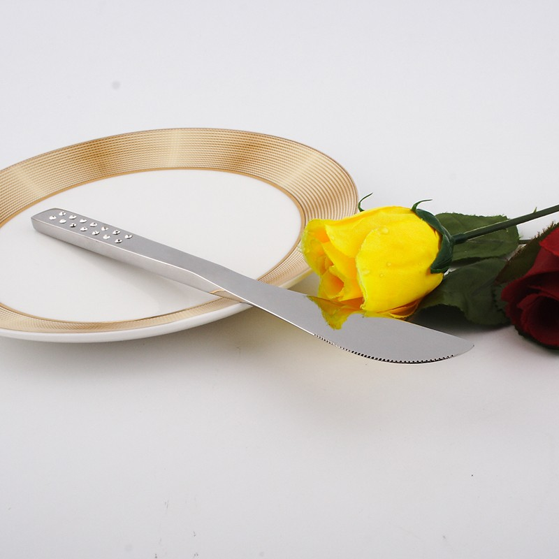 Buy Metal stainless steel spoon fork knive 4pcs set rhinestones wholesale for wedding stainless steel dinnerware sets silverware cheap