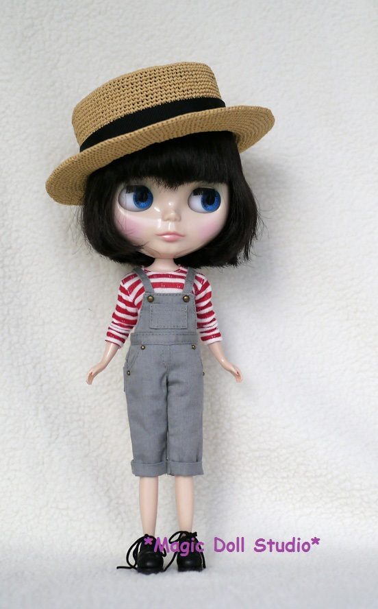 [MG036]Free Shipping Blythe doll outfit # Grey Jumpsuit and shirt set for blythe outfit blythe clothes(China (Mainland))