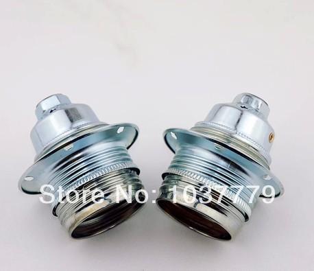 15pcs/lot Alloy ceramic Silver E27 fitting lamp holder(China (Mainland))