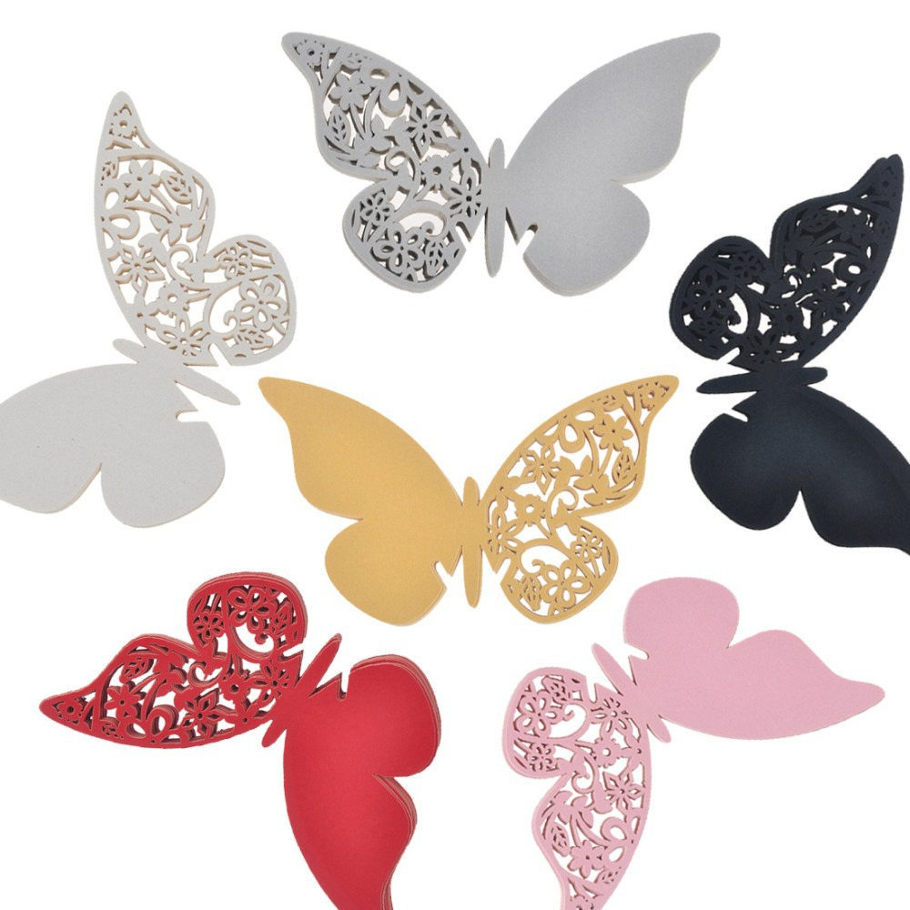 6 Color 2.8*4.3inch Multi-Usage Wine Glass Paper Cards 12Pcs Butterfly  Laser Out  Place Table Escort Wedding Favors Party Decor(China (Mainland))