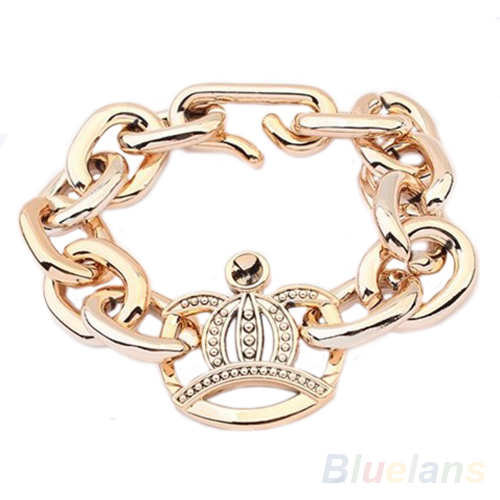 Hot Sale Vintage Retro Women's Fashion Simple Design Golden Crown Bracelet New 1NLY(China (Mainland))