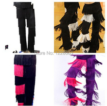 New 2015 Discount Cheap Women Ladies Girls Black Red Purple Blue White Fringe Latin Dance Pants Jazz Samba Fringe Dance Pants