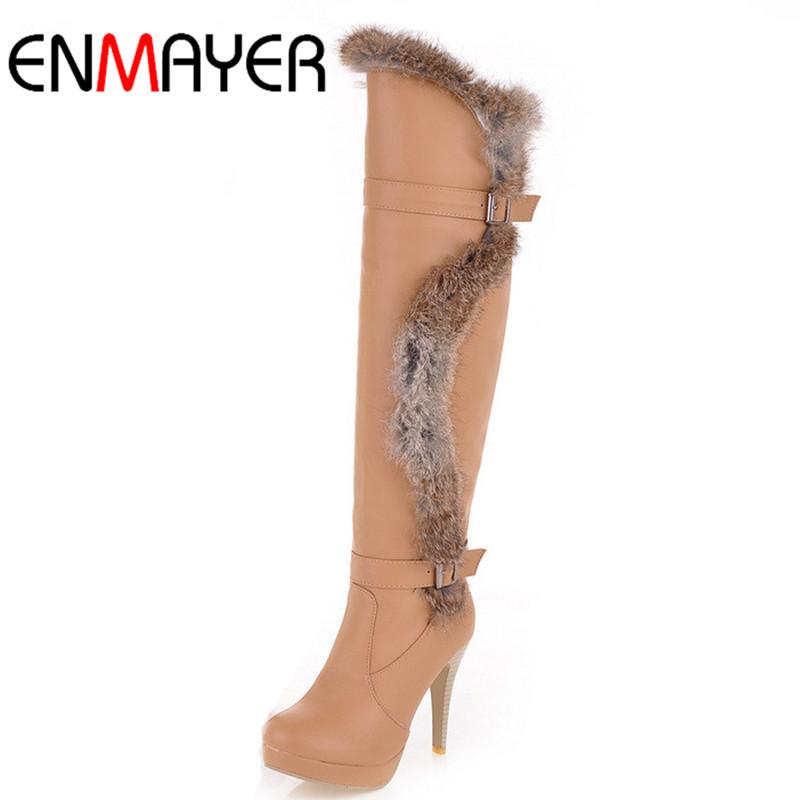 ENMAYER New Fashion Ladies Boots High Heel Knee Fur Keep Warm Winter Boot Black White Apricot - Shop408473 Store store