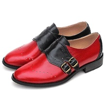 Plus Size 33~43 New Genuine Leather Women Shoes Vintage Carving Brogue Oxford Shoes For Women Slip-On Mixed Color