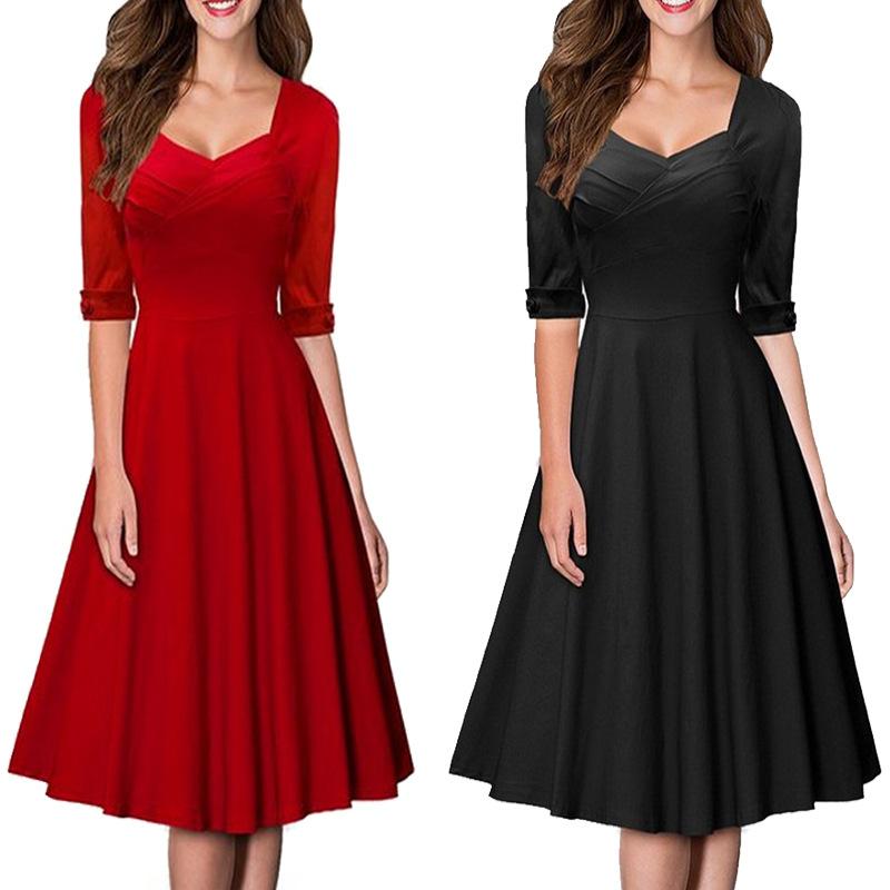 2016 Womens Dresses Spring Autumn New Fashion V Neck Short Sleeve Slim Big Swing Dress Women Plus Size Dress Party Dress(China (Mainland))