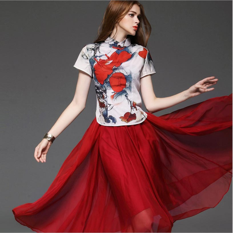 New Arrival 2015 Women's Stand Collar Short Sleeves Printed Blouse with A Line Red Skirts Elegant Chinese Style Twinset Dresses(China (Mainland))