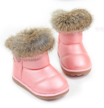Baby boots 2016 New Arrive Rabbit Fur boots baby Pu Leather Shoes kids Snow Boots Colorful Girl Warm Shoes size 21-30(China (Mainland))