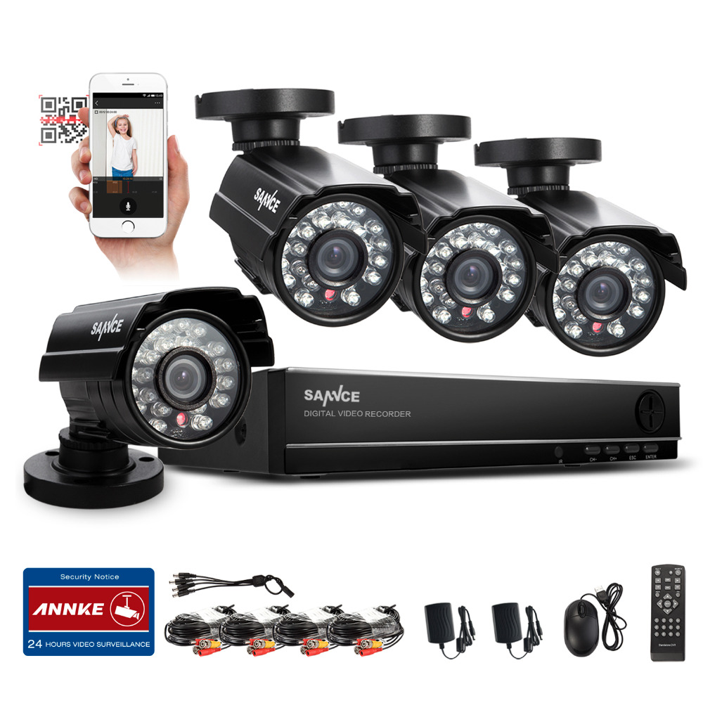 SANNCE 8CH CCTV HDMI DVR 4PCS 900TVL IR Weatherproof Outdoor CCTV Camera Home Security System Video Surveillance Kits RU Stock(China (Mainland))