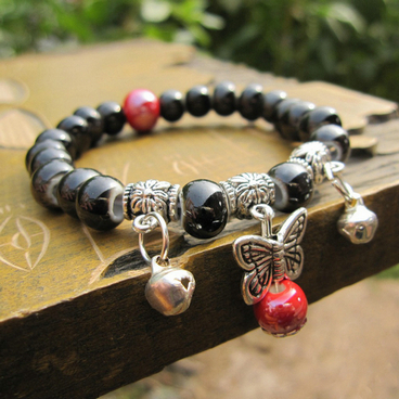 HOT Fashion 5Pair/lot Butterfly Traditional Handmade Ceramics Beads Crystal Silver Bracelet Vintage Jewelry For Women<br><br>Aliexpress