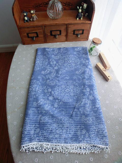 Внешняя торговля оригинальный сингл джинсовой синий пейсли кружева шарф японский литературный завиток шарф платок A46