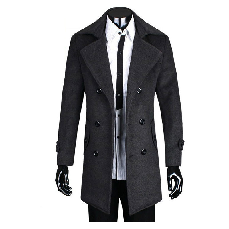Hot selling Plus Size England Style Men Coats Thick Gentleman Warm Winter Woolen